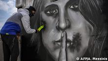 BdTD Griechenland Athen Graffito gegen häusliche Gewalt