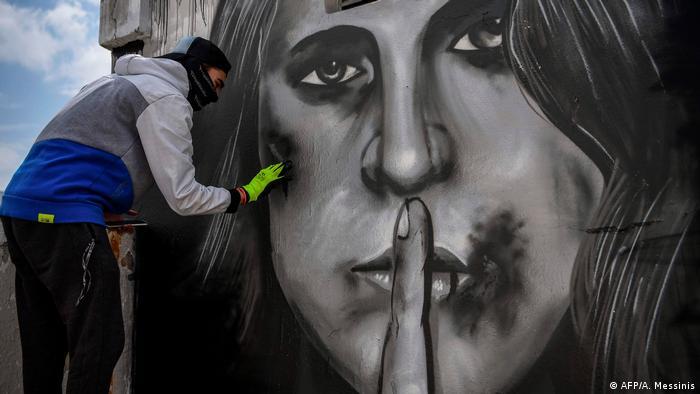 BdTD Griechenland Athen Graffito gegen häusliche Gewalt (AFP/A. Messinis)