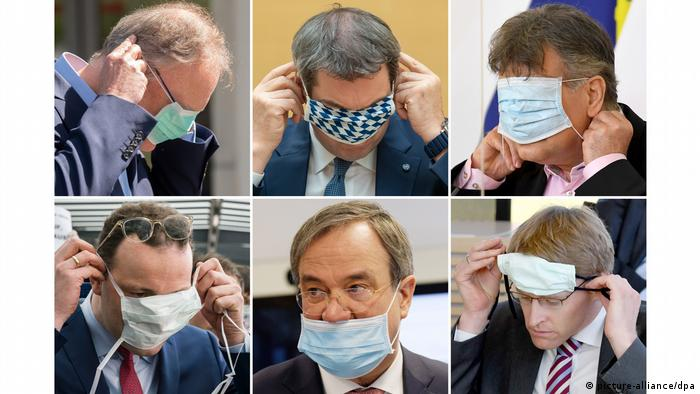 State premiers struggling to put masks on correctly (picture-alliance/dpa)