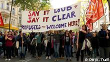 Pro-refugee demonstration in Vienna October 2015. Copyright: Kim Traill, DW, Vienna, April 2020