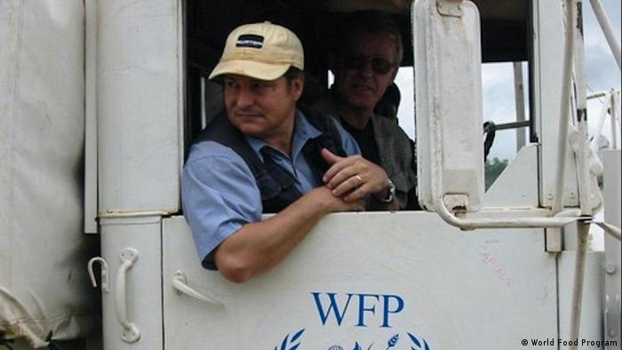 World Food Programme's country director Richard Ragan in one of the organization's trucks.