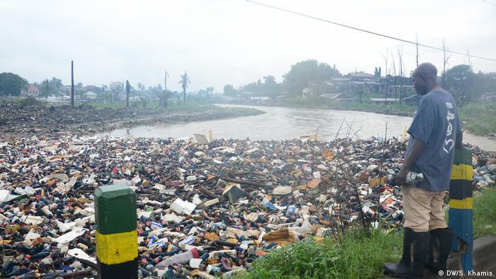 Waste in a river in Tanzania