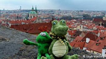 stuffed crocodile looks over Prague