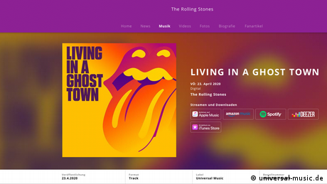 Screenshot Website Rolling Stones neue Single Living In A Ghost Town (universal-music.de)