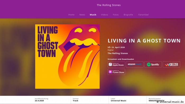 Screenshot Website Rolling Stones neue Single Living In A Ghost Town (universal-music.de)