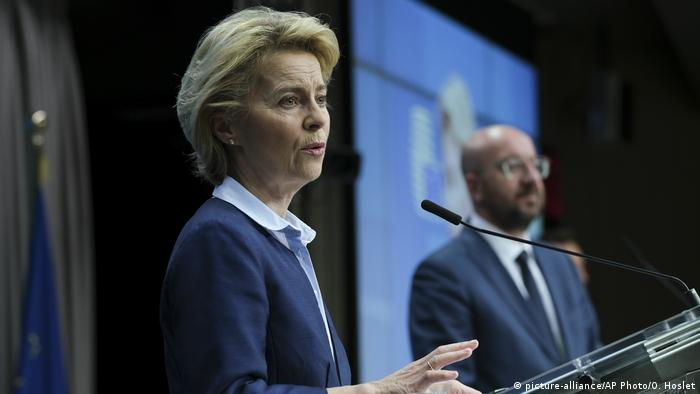 Brüssel PK Michel / von der Leyen nach EU Gipfel (picture-alliance/AP Photo/O. Hoslet)