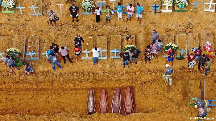 Aerial picture showing a burial taking place at an area where new graves have been dug up at the Nossa Senhora Aparecida cemetery in Manaus