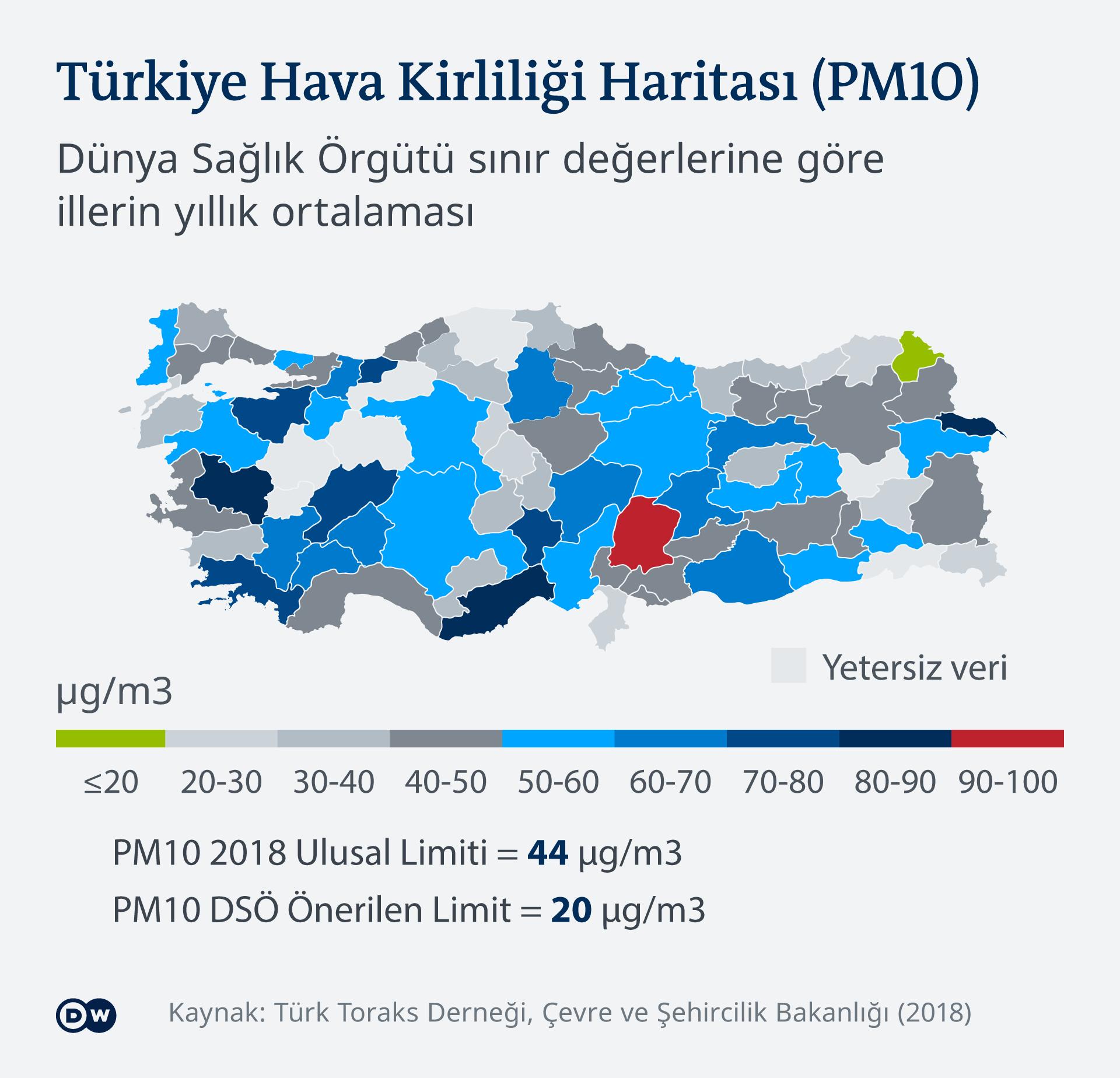 Infografik Karte Luftverschmutzung in der Türkei beim Lockdown TR