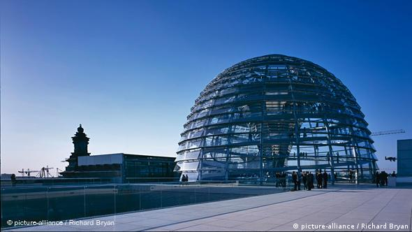 The glass dome on the German Reichstag building in Berlin