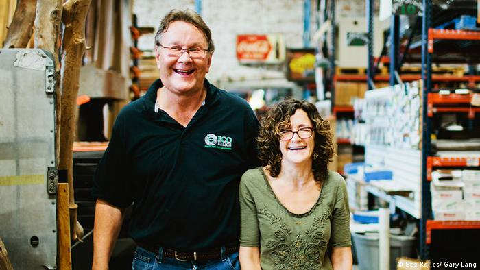 Michael Murphy and his wife, Ann, at their business Eco Relics in Florida, USA