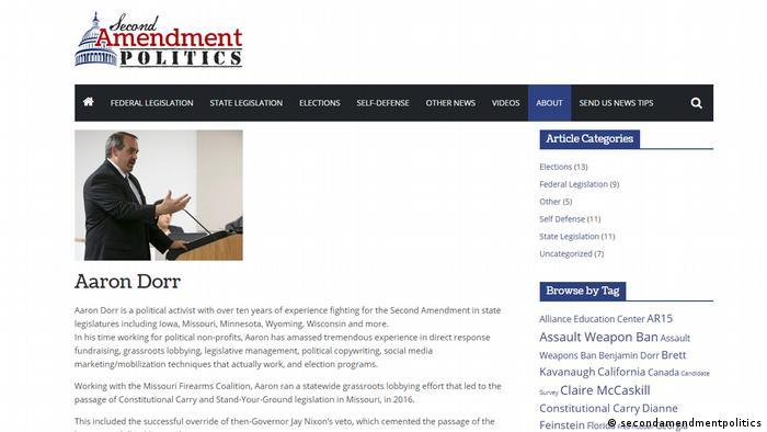 Screenshot of secondamendmentpolitics.com, Aaron Dorr, USA