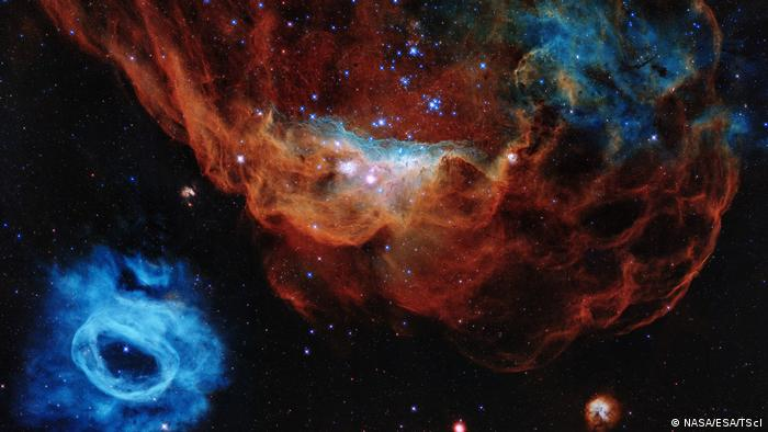 La gigantesca nebulosa NGC 2014 y su galaxia vecina NGC 2020.