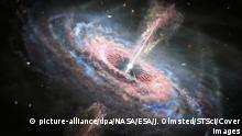 NASA'S Hubble Space Telescope has observed the biggest outflows of energy in the known universe, a team of astronomers has announced. The outflows are spewing from so-called quasars, which are extremely active galactic cores 1,000 times brighter than the millions of stars their host galaxies house. With the aid of NASA's Hubble Space Telescope, a team of astronomers has found 13 of these powerful blasts across the universe. The outflows tear through the galaxies at breakneck speeds, like tsunamis, wreaking havoc on the galaxies in which they reside. According to NASA, the quasars each contain supermassive black holes fuelled by the matter falling towards them. As the matter falls towards the black holes, scorching gases surround the well of gravity and release radiation. The quasars then release cosmic winds from the black hole, pushing material away from the galaxy's centre. The outflows rush out of the galaxies at velocities approaching the speed of light. Nahum Arav of Virginia Tech in Blacksburg, Virginia, principal investigator, said: No other phenomena carries more mechanical energy. Over the lifetime of 10 million years, these outflows produce a million times more energy than a gamma-ray burst. The winds are pushing hundreds of solar masses of material each year. The amount of mechanical energy that these outflows carry is up to several hundreds of times higher than the luminosity of the entire Milky Way galaxy. When: 10 Mar 2020 Credit: NASA/ESA/J. Olmsted (STScI)/Cover Images **EDITORIAL USE ONLY. MATERIALS ONLY TO BE USED IN CONJUNCTION WITH EDITORIAL STORY. THE USE OF THESE MATERIALS FOR ADVERTISING, MARKETING OR ANY OTHER COMMERCIAL PURPOSE IS STRICTLY PROHIBITED. MATERIAL COPYRIGHT REMAINS WITH NASA.**   Keine Weitergabe an Wiederverkäufer.