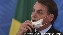 Brasilien Coronavirus Präsident Bolsonaro Mundschutz