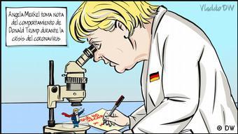 Γελοιογραφία του Κολομβιανού Vladdo: Η Μέρκελ εξετάζει τη στάση του Τραμπ έναντι του κορωνοϊού για να μην κάνει τα ίδια