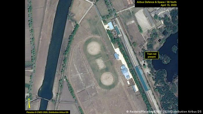 What is described by Washington-based North Korea monitoring project 38 North as a leadership train station servicing North Korean leader Kim Jong Un's Wonsan complex is seen in a satellite image with graphics taken over Wonsan (Reuters/Pleiades/CNES 2020/Distribution Airbus DS)