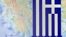 Symbolbild Griechenland Flagge Karte abwärts