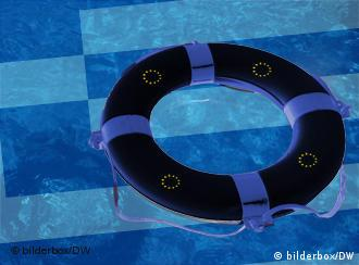 A Greek flag underwater, with a life-saving ring floating above