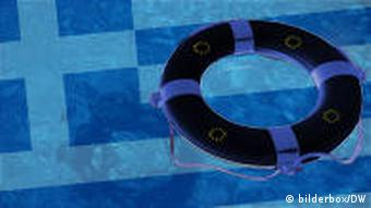 A life ring on water with the Greek flag beneath