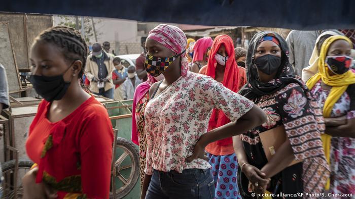 Women queuing to buy bread during Ramadan in Dakar, Senegal