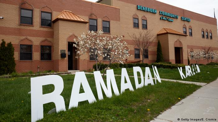 A sign that reads Ramadan Kareem is near the front entrance of the Masjid Al-Salaam mosque and Dearborn Community Center