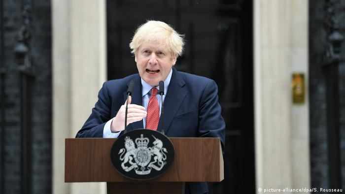 Prime Minister Boris Johnson makes a statement outside 10 Downing Street