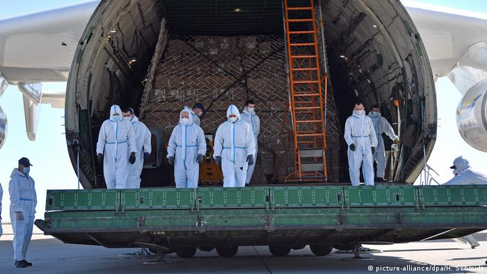 Members of Germany's Bundeswehr arrive in the state of Saxony to deliver the first of 25 million coronavirus protection masks from China