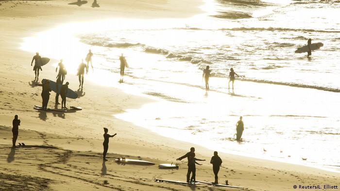 Surfers on Bondi beach
