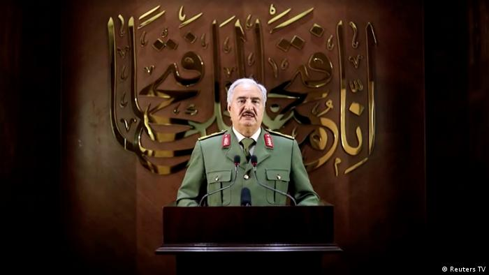 Khalifa Haftar, the warlord who ruled eastern Libya, in a video released on April 27, 2020