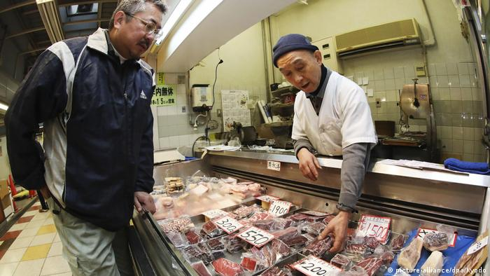 Whale meat in a shop in Japan