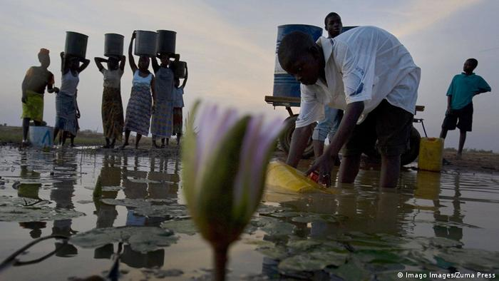 Women and children gather dam water at sunset near Savelugu, Ghana