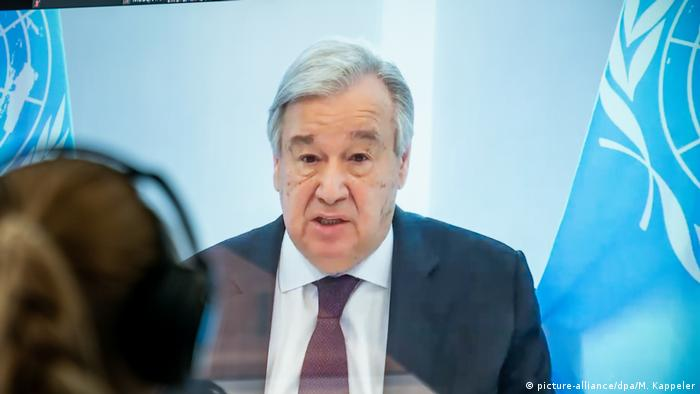 UN cheif Antonio Guteres speaks remotely for the Petersberg Dialogue (picture-alliance/dpa/M. Kappeler)