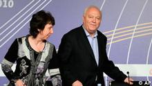 Spanish Foreign Minister Miguel Angel Moratinos, right, and European Foreign Affairs chief Catherine Ashton arrive for a conference during an European Union Foreign Ministers meeting in Cordoba, Spain, on Saturday, March 6, 2010. (AP Photo/Manu Fernandez)