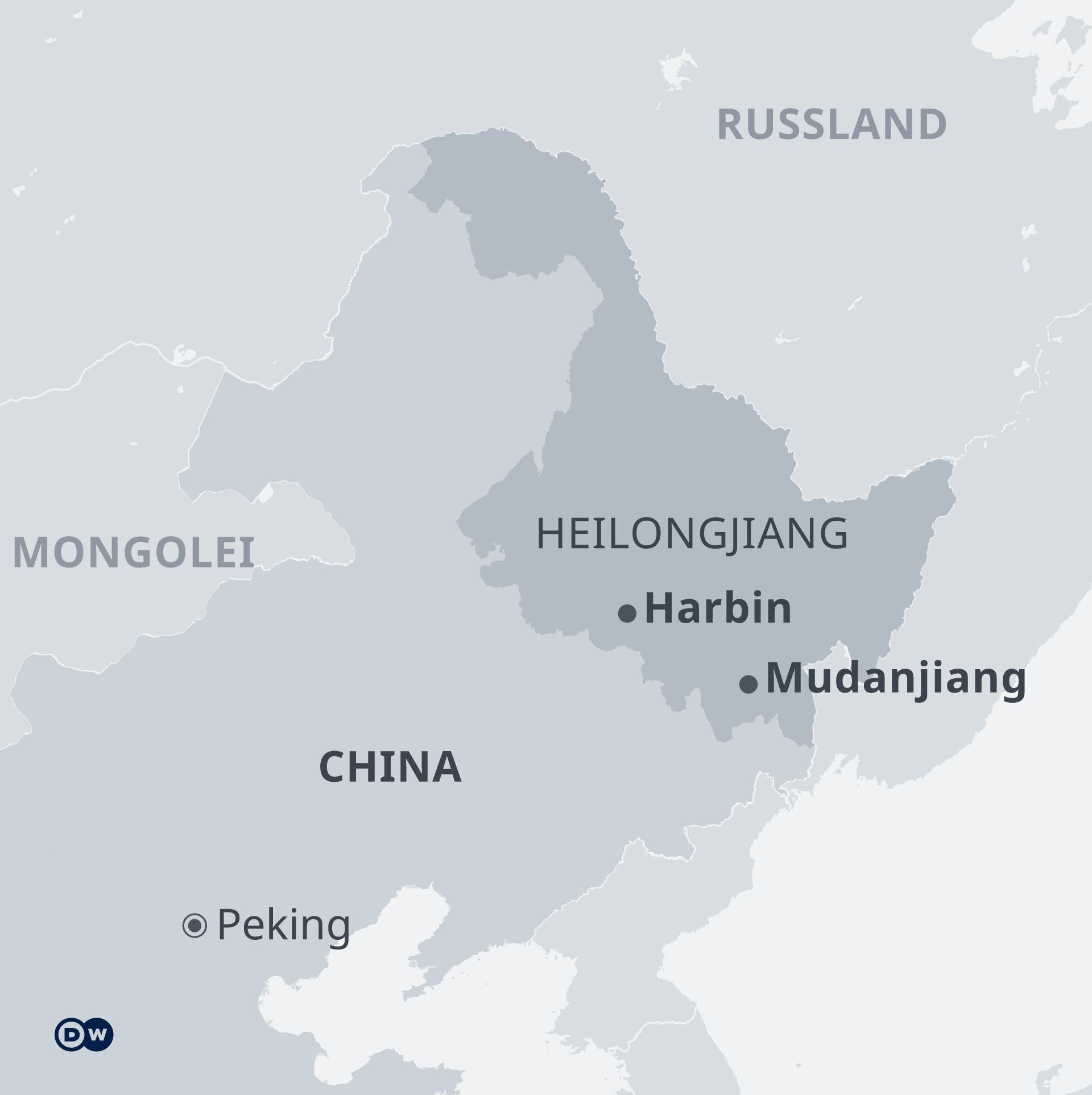 Infografik Karte China mit der Provinz Heilongjiang DE