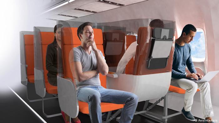 Vorschläge für eine alternative Flugpassagier-Beförderung wegen Corona (Aviointeriors)