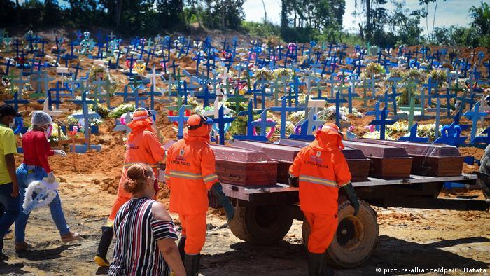 Похороны коронавирусных больных в Бразилии