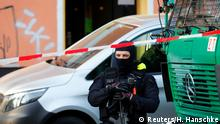 German special police guards the entrance of the El-Irschad centre in Berlin, Germany, April 30, 2020, after Germany has banned Iran-backed Hezbollah on its soil and designated it a terrorist organisation. REUTERS/Hannibal Hanschke