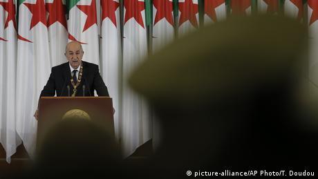 عبد المجيد تبون خلال حفل تنصيبه رئيسا (19 ديسمبر/ كانون الأول 2021)