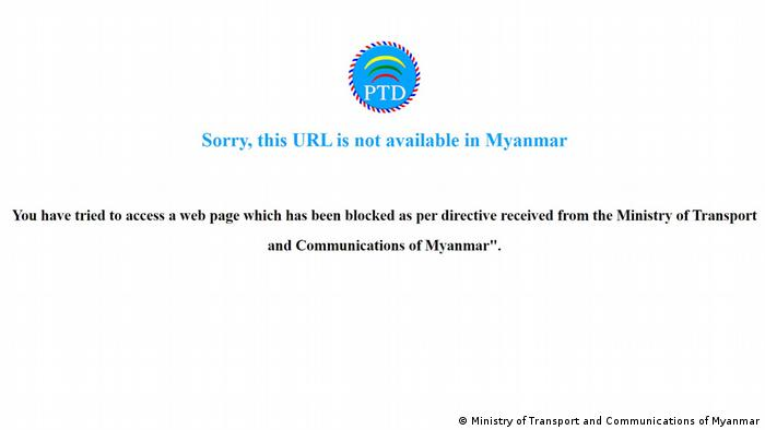 Screenshot | blockierte Webseite VOM Voice of Myanmar 29.04.2020