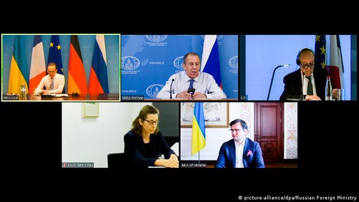 Videokonferenz der Außenminister | Heiko Maas, Sergei Lavror, Jean-Yves Le Drian und Dmytro Kuleba