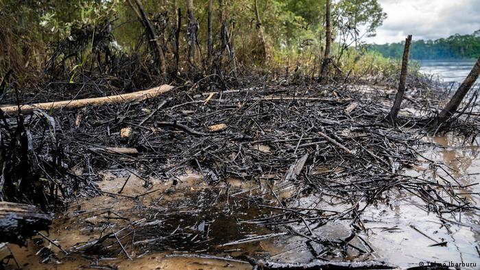 Contaminación por derrame de crudo cerca de Coca, Sucumbíos, en Ecuador.