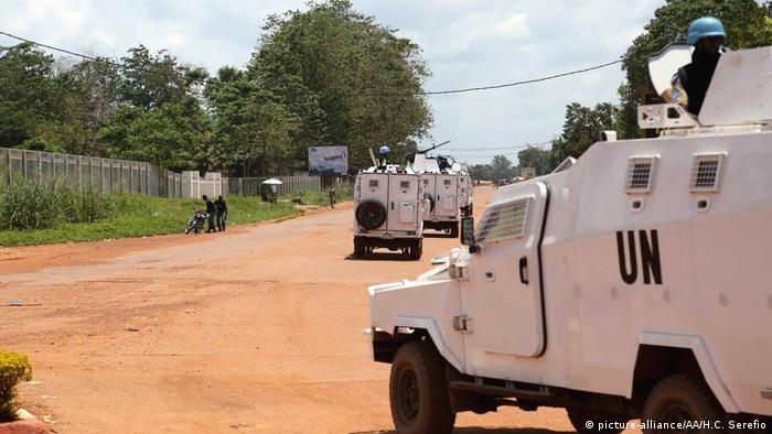 A UN peacekeeping convoy in the Central African Republic