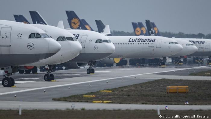 A row of Lufthansa planes