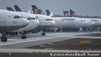 Припакрованные самолеты авиакомпании Lufthansa