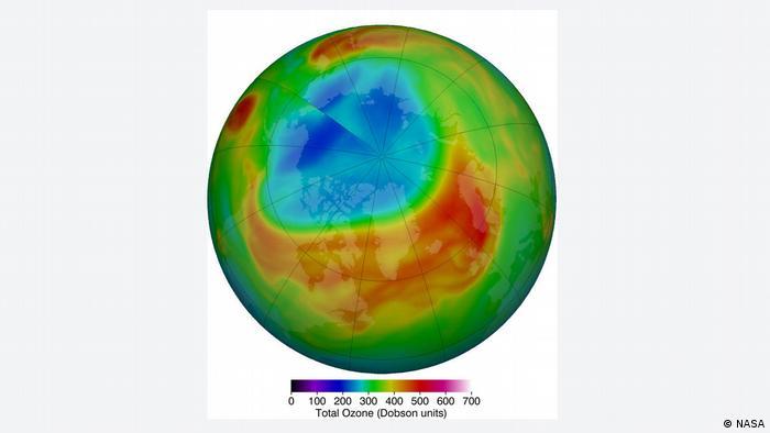 Ozone hole over the Arctic (NASA)