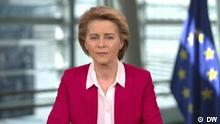 ***ACHTUNG: Geringe Auflösung - bitte im Layout beachten!*** Still DW-Interview EU-Kommissionspräsidentin von der Leyen. Rechte: DW