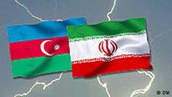 Symbolbild Aserbaidschan und Iran Blitze Grafik