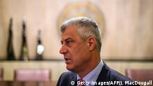 ARCHIV 2019 *** Kosovo's President Hashim Thaci speaks to reporters during an exclusive interview with AFP in Berlin on April 30, 2019, after the the West Balkans conference. - German Chancellor Angela Merkel and French President Emmanuel Macron hosted the Western Balkans leaders and EU members Croatia and Slovenia hoping to reboot a dialogue between bitter foes Serbia and Kosovo over one of the Balkans' thorniest disputes. (Photo by John MACDOUGALL / AFP) (Photo credit should read JOHN MACDOUGALL/AFP via Getty Images)