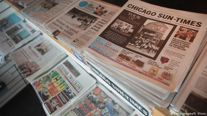 US newspapers on sale at a newsstand