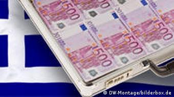 500 euro bills and a Greek flag